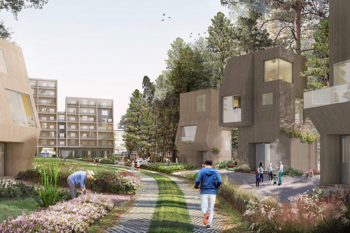 Mellunkylän visio 2035 – Puu-Kivikko havainnekuva – image credit Kaleidoscope Nordic AS